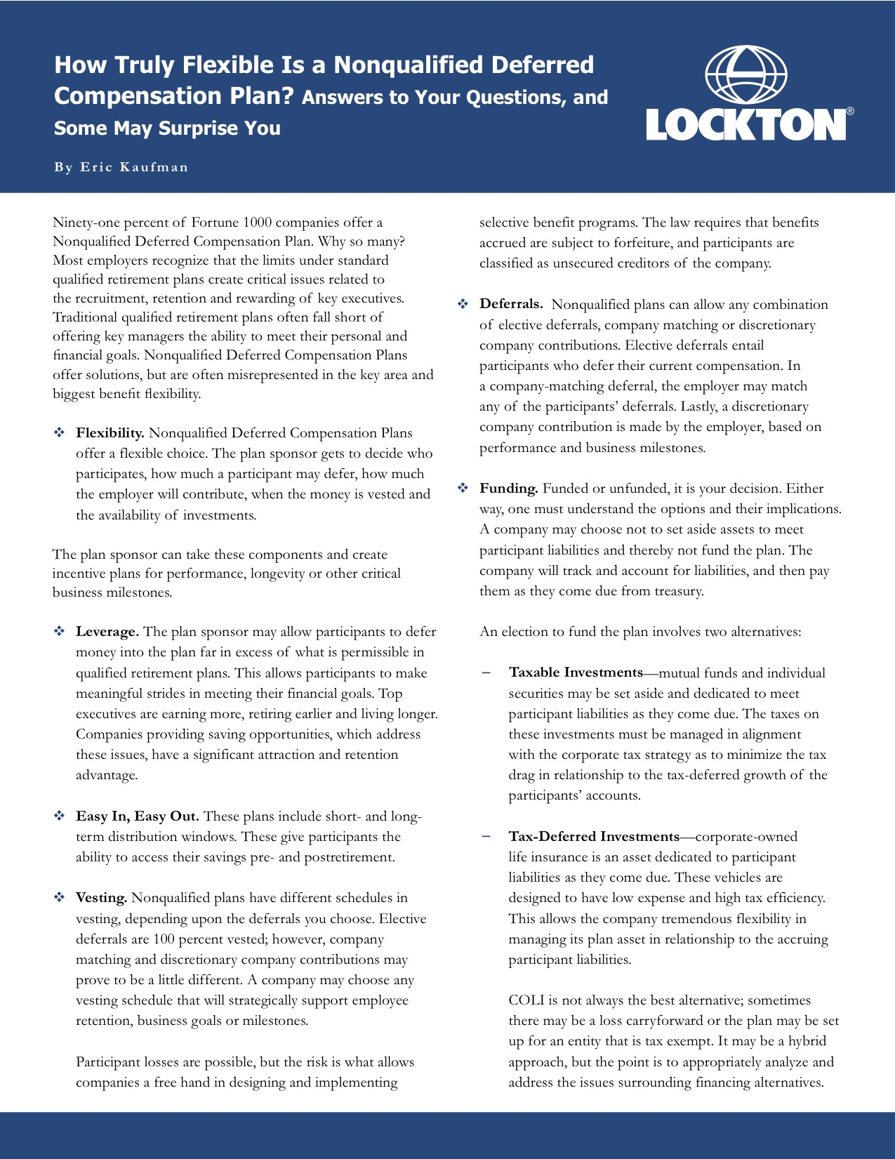 Deferred compensation investment options